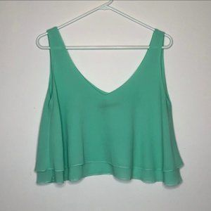 Signature8 Layered Chiffon Crop Top Turquoise Sz M